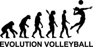 Volleyball Evolution. With silhouette of player vector illustration