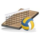 Volleyball-Feld und Ball-Vektor-Illustration Stockfotos