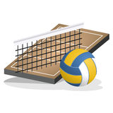 Volleyball Field and Ball Vector Illustration Stock Photos