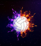 Volleyball on fire Stock Images