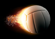 Volleyball in Fire on black background Stock Photography