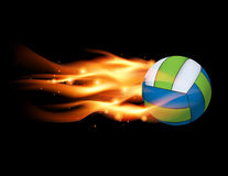 Volleyball on Fire Illustration. A flying volleyball with a flaming fire tail illustration. Vector EPS 10 available. EPS file contains transparencies and a Royalty Free Stock Photo