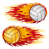volleyball with flames Royalty Free Stock Images