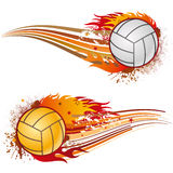 Volleyball with flames Stock Photo