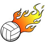 Volleyball with Flames Stock Image