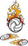 Volleyball Flaming Ball Logos. Flaming Volleyball Ball Vector Logos Stock Photo