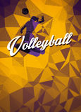 Volleyball flat polygon background Royalty Free Stock Image