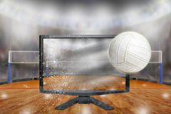 Volleyball Flying Out of TV Screen in Arena royalty free stock photos