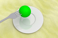 Volleyball food: beach volleyball with fork on sand, 3d illustration Royalty Free Stock Images