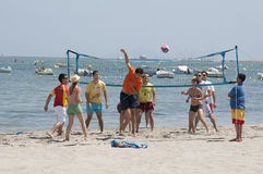 Volleyball game on a beach in Spain Royalty Free Stock Photography