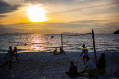 Volleyball game at Koh Samui Pier in amazing. Sunset Royalty Free Stock Photography