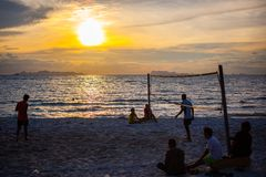 Volleyball game at Koh Samui Pier in amazing. Sunset Stock Photo