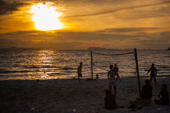 Volleyball game at Koh Samui Pier in amazing. Sunset Royalty Free Stock Photos