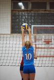 Volleyball. Game sport with group of young beautiful girls indoor in sport arena school gym stock photography