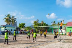 Volleyball game sport with team of girls Stock Photos