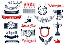 Volleyball game sports icons and symbols Royalty Free Stock Photo