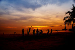 Volleyball game at sunset Royalty Free Stock Image