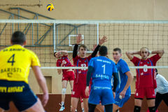 volleyball game ukrainian super league vc dnipro vc novator royalty free stock photo
