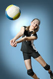 Volleyball girl. Female volleyball player with a ball Royalty Free Stock Photography