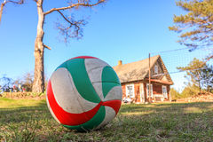 Volleyball on the grass. Royalty Free Stock Images