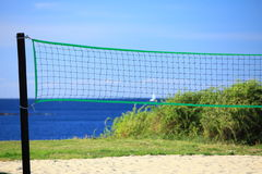 Volleyball green net and playing court outdoor Stock Photos