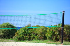 Volleyball green net and playing court outdoor Royalty Free Stock Photography