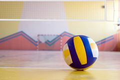 Volleyball in a gym. A professional volleyball on the floor of a gym. Volleyball net above. The ball lying on the line limiting the field royalty free stock photos