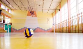 Volleyball in a gym.