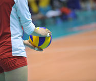 Volleyball in hand Royalty Free Stock Images
