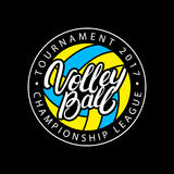 Volleyball hand written lettering logo, label, badge or emblem. stock illustration