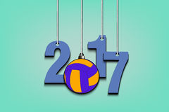 Volleyball and 2017 hanging on strings. New Year numbers 2017 and volleyball as a Christmas decorations hanging on strings. Vector illustration Stock Photography