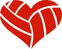 Volleyball Heart. Red Volleyball Heart with pattern stock illustration