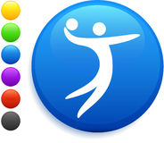 Volleyball icon on round internet button.  Stock Images
