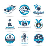 Volleyball icon set - 3 Royalty Free Stock Photography