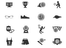 Volleyball icon set Royalty Free Stock Photos