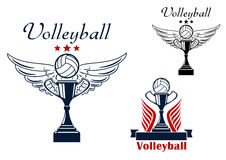 Volleyball icon with trophy and winged ball Stock Photos