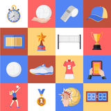 Volleyball icons set Royalty Free Stock Photography