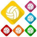 Volleyball icons set with long shadow Royalty Free Stock Photos