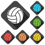 Volleyball icons set with long shadow Stock Photography