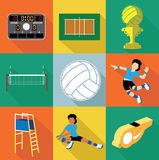 Volleyball icons set Royalty Free Stock Photos