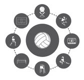 Volleyball icons set Stock Photo