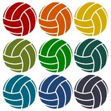 Volleyball icons set Stock Photos
