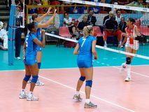 Volleyball: Italy by the net Royalty Free Stock Images