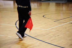 Volleyball. The judge with red flag Royalty Free Stock Photo