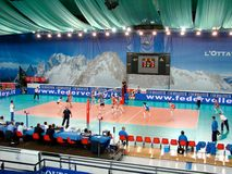Volleyball : La France contre la Russie Photos stock