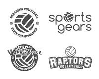 Volleyball labels, badges, logo and icons set Stock Images