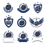 Volleyball labels and icons set. Vector. Illustration Stock Photos