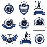 Volleyball labels and icons set. Vector Stock Photos