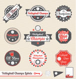Volleyball League Champion and All Star Labels. Collection of volleyball league champion and all star labels and stickers Stock Photos