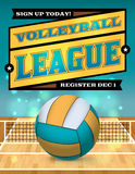 Volleyball League Flyer Illustration. An illustration for a volleyball league flyer or poster. Vector EPS 10 available. EPS file contains transparencies and a Stock Images